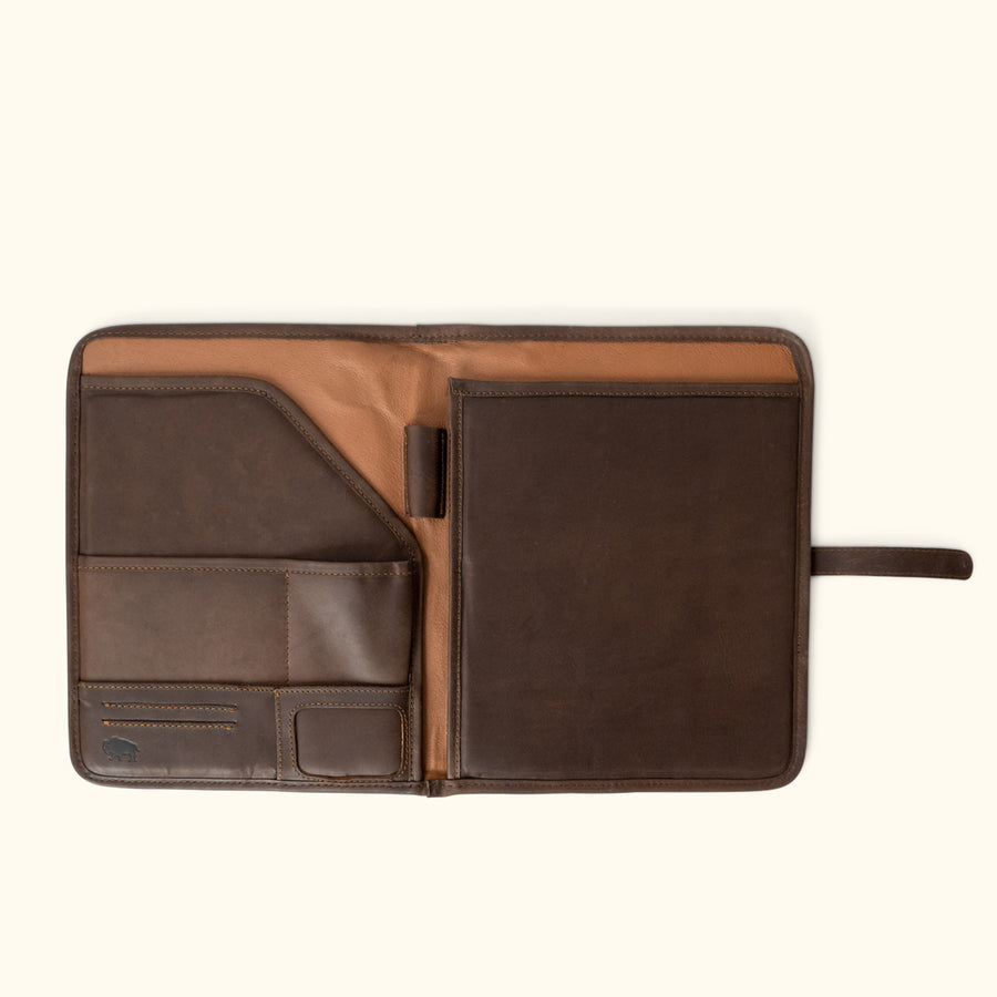 Denver Leather Travel Padfolio | Dark Briar