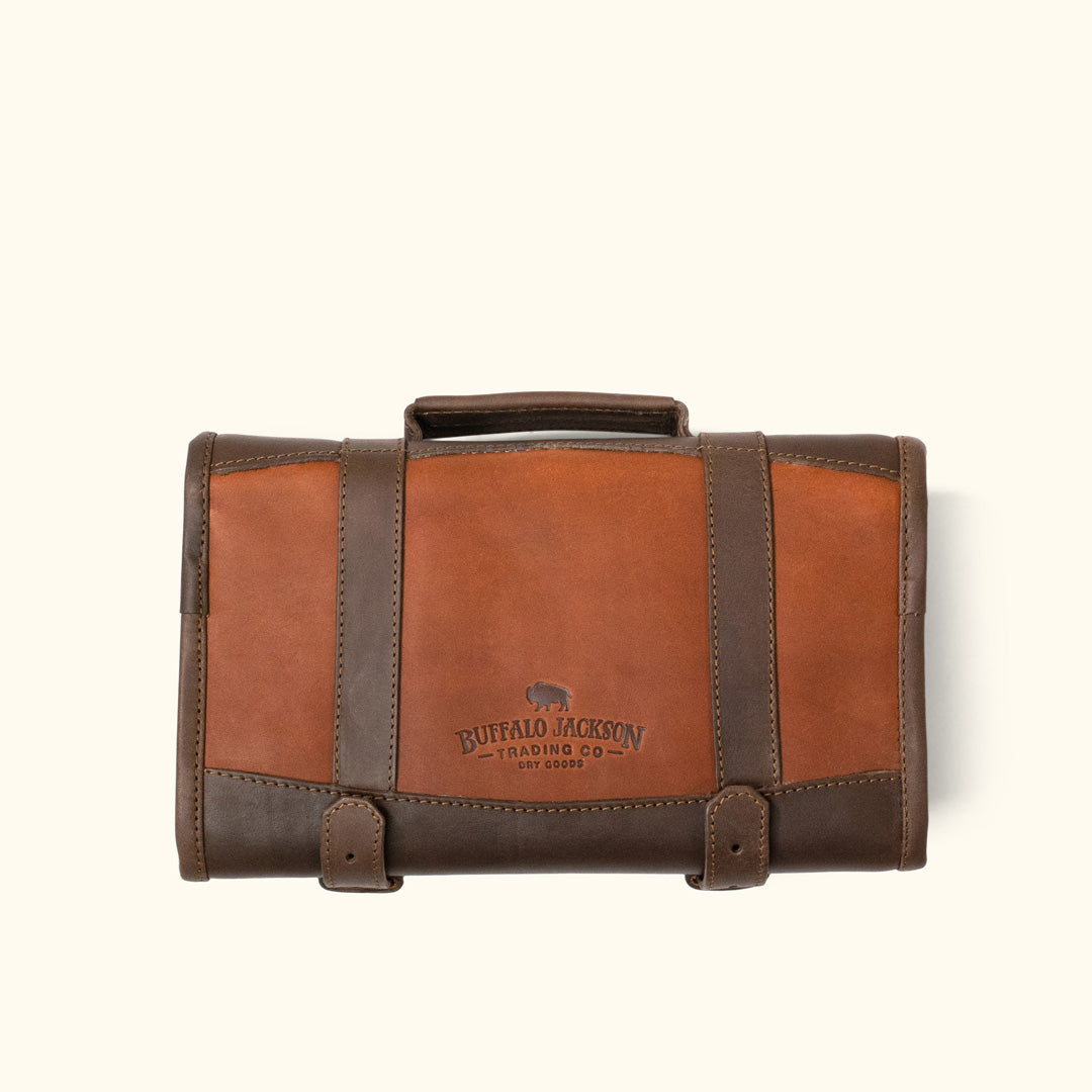 03322362ca0 Denver Leather Toiletry Bag   Autumn Brown   Dark Briar Leather w  Brown  Waxed Canvas