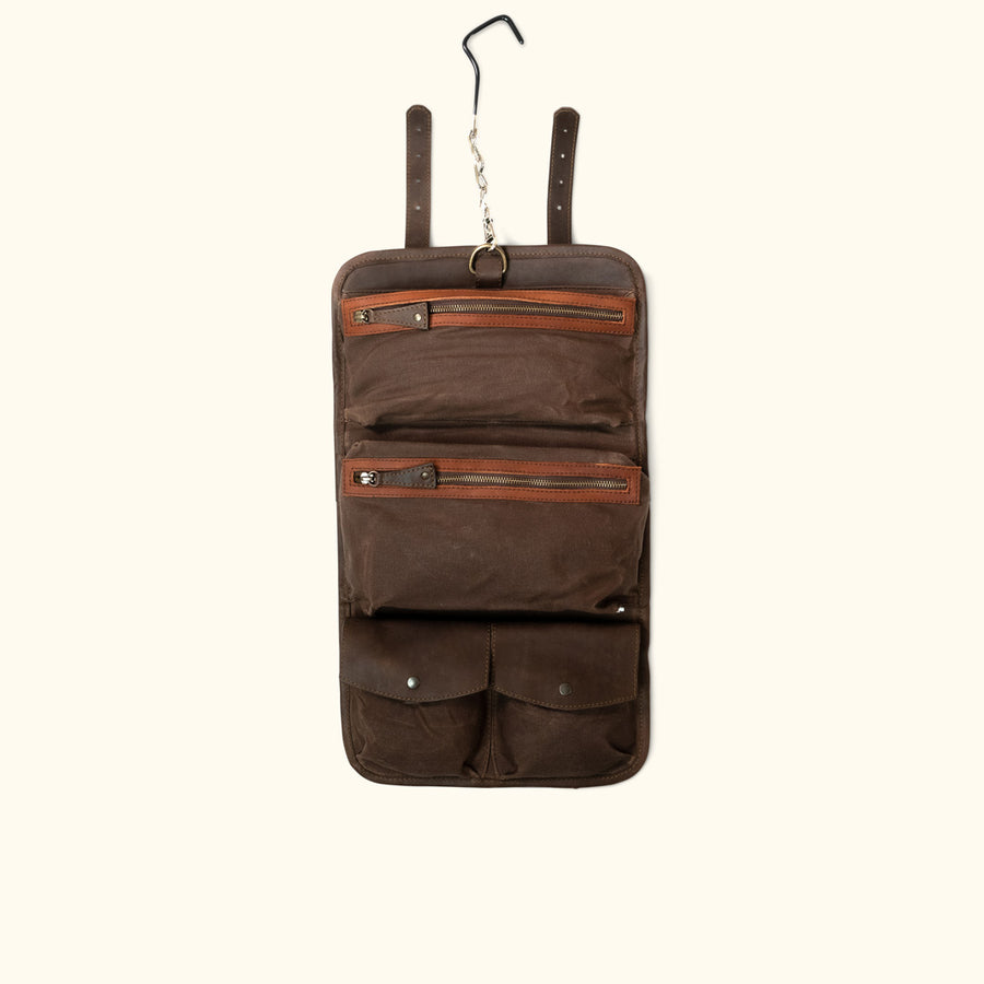 Denver Leather Toiletry Bag | Autumn Brown & Dark Briar Leather w/ Brown Waxed Canvas