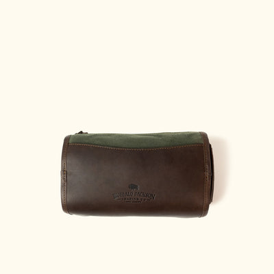 Elkton Waxed Canvas Shaving Kit/Dopp Kit | Green w/ Dark Briar Leather