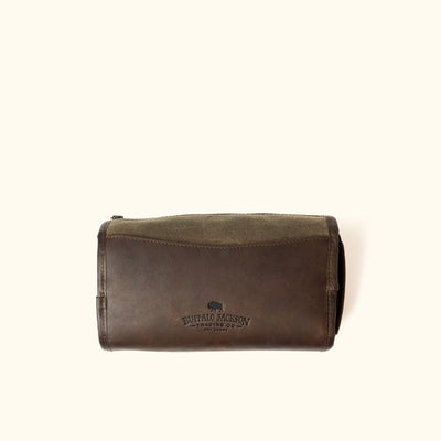 Elkton Waxed Canvas Shaving Kit/Dopp Kit | Moss w/ Dark Briar Leather hover