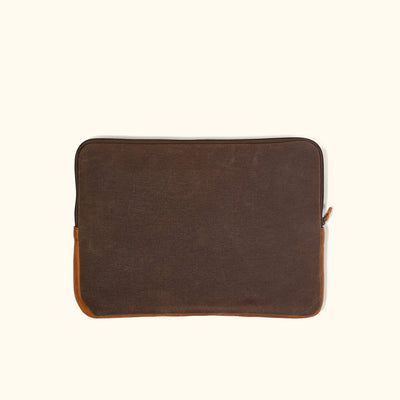 Elkton Waxed Canvas 15 Inch Laptop Case | Brown w/ Sienna Brown Leather