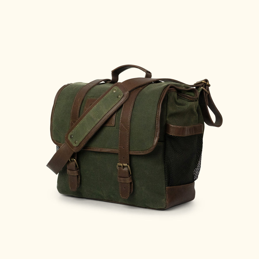 Elkton Waxed Canvas Diaper Bag | Green W/ Dark Briar Leather