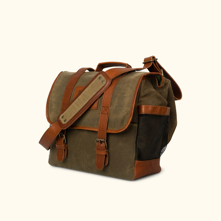Elkton Waxed Canvas Diaper Bag - Moss w/ Autumn Brown Leather