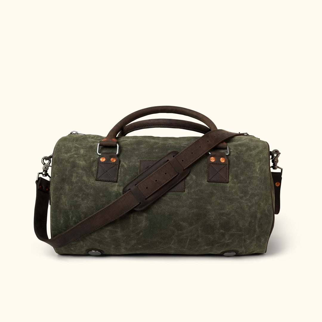 Elkton Waxed Canvas Duffle Bag   Green w  Dark Walnut Leather 0c07cbd3ac