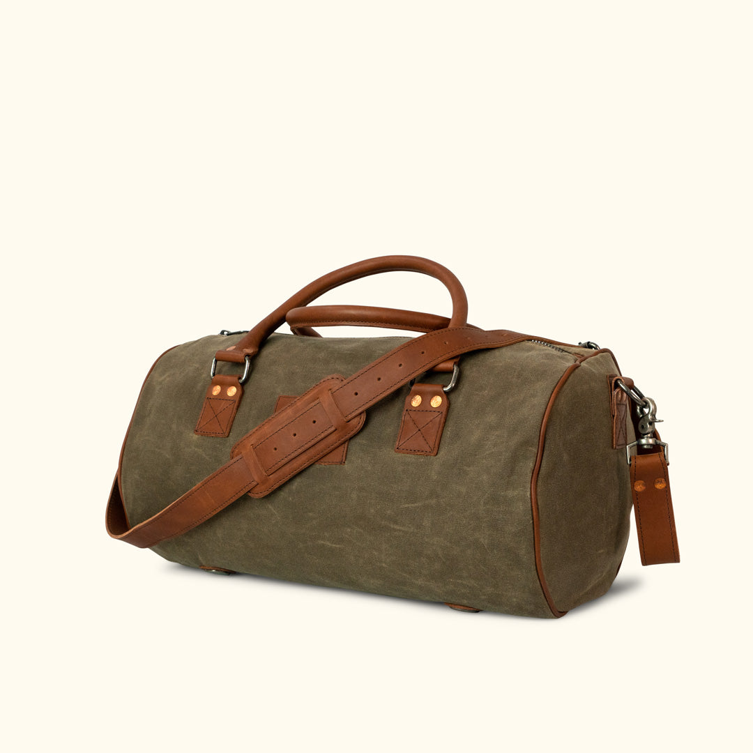 eff08a232b Elkton waxed canvas duffle bag moss with autumn brown leather jpg 1080x1080 Leather  duffle waxed duffel