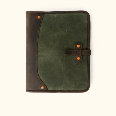 Elkton Waxed Canvas Padfolio | Green w/ Dark Walnut Leather