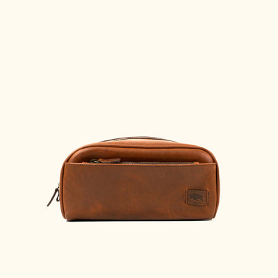 Vintage Leather Leather Dopp Kit | Elderwood front