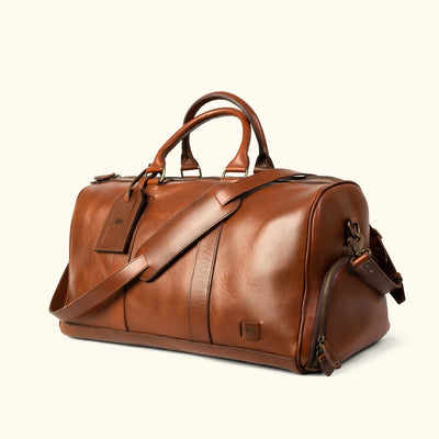 Men's Rugged Leather Duffle | Brown turned