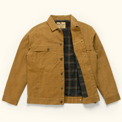 Mens Canvas Trucker Jacket tobacco tan