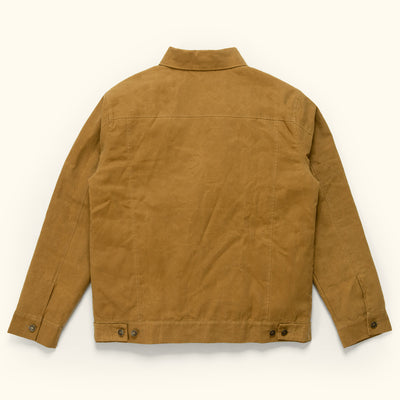 Men's Vintage Waxed Canvas Trucker Jacket - tobacco tan