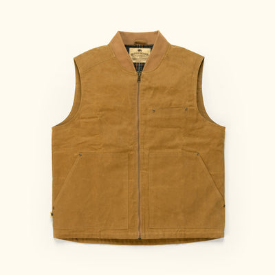 Men's Rugged Waxed Canvas vest tobacco tan