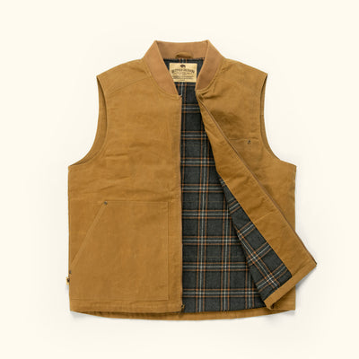 Men's Rugged Work Canvas outdoor vest tobacco