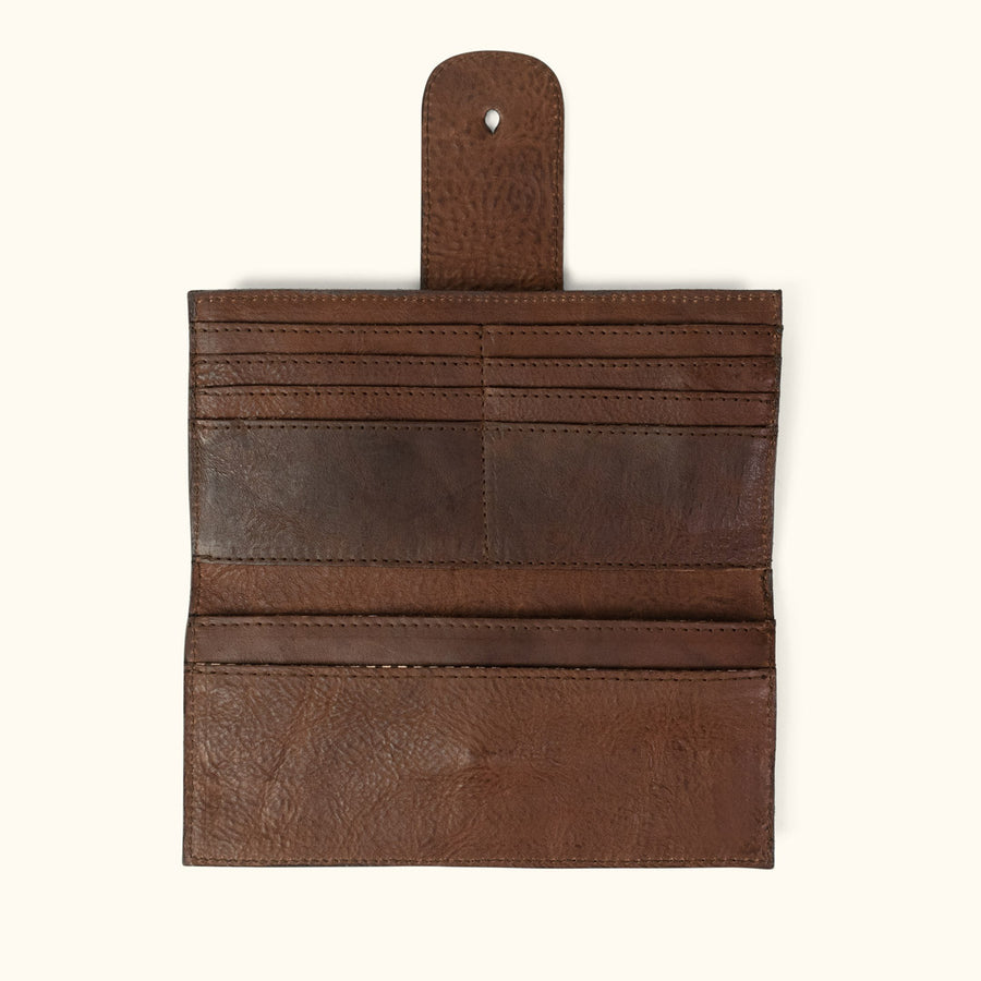 Leather Checkbook Wallet | Dark Hazelnut