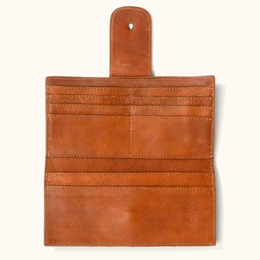 Leather Checkbook Wallet | Saddle Tan