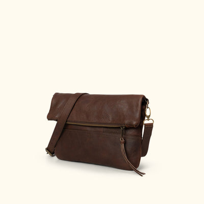 Madison Leather Crossbody Foldover Clutch | Dark Hazelnut