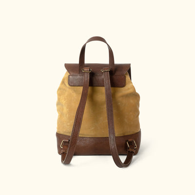 Madison Waxed Canvas Backpack | Khaki w/ Dark Hazelnut Leather