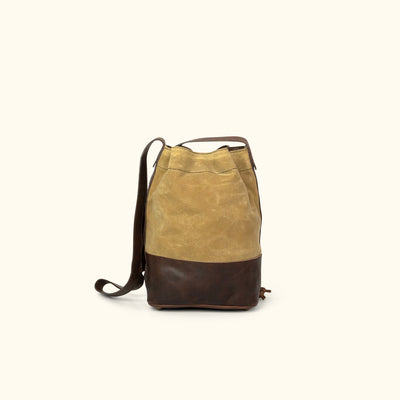 Madison Waxed Canvas Bucket Bag | Khaki w/ Dark Hazelnut Leather