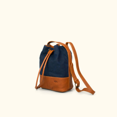 Madison Waxed Canvas Bucket Bag | Navy w/ Saddle Tan Leather
