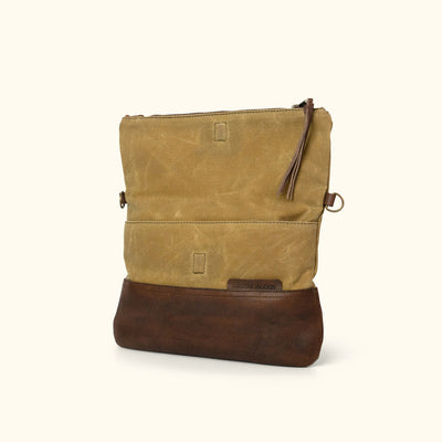 Madison Waxed Canvas Crossbody Foldover Clutch  | Khaki w/ Dark Hazelnut Leather