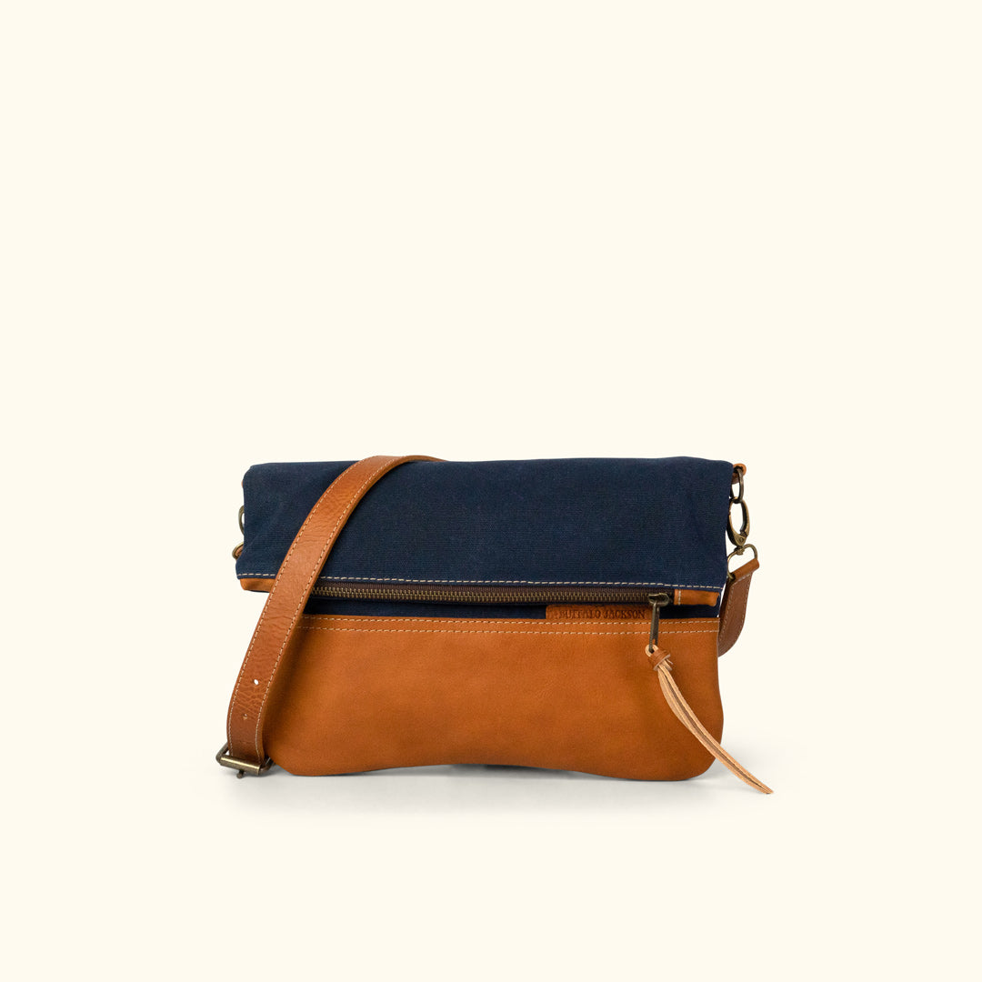 6967393aad5a Madison Waxed Canvas Crossbody Foldover Clutch | Navy w/ Saddle Tan Leather