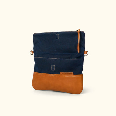 Madison Waxed Canvas Crossbody Foldover Clutch | Navy w/ Saddle Tan Leather