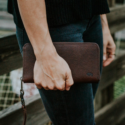 Madison Wristlet Wallet | Dark Hazelnut hover