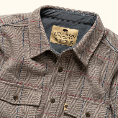 Mens herringbone wool shirt jac brown