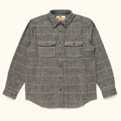 Men's Vintage Herringbone wool shirt jac stone grey