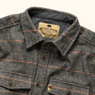 Men's Rugged Herringbone wool shirt jac hover