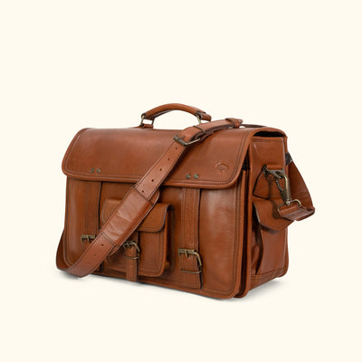 Vintage Leather Briefcase Bag | Amber turned