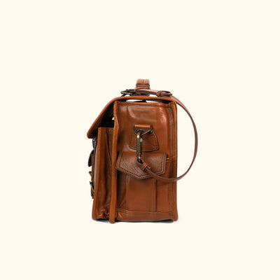 Rugged Leather Briefcase Bag | Amber side