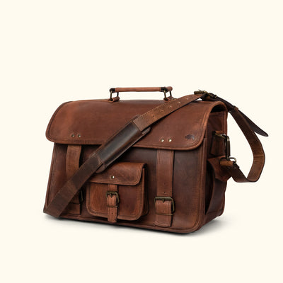 Rugged Leather Briefcase Bag | Dark Oak turned