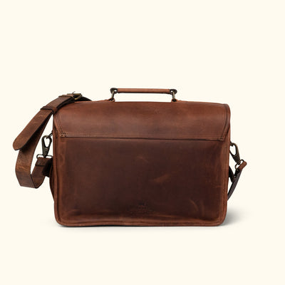 Vintage travel Leather Briefcase Bag back