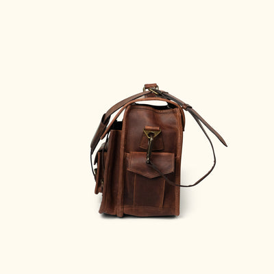 men's Leather Briefcase Bag | Dark Oak side