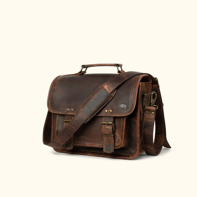 Rugged Leather Camera Bag | Dark Oak turned
