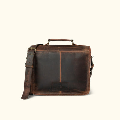 Professional Leather Camera Bag | Dark Oak back
