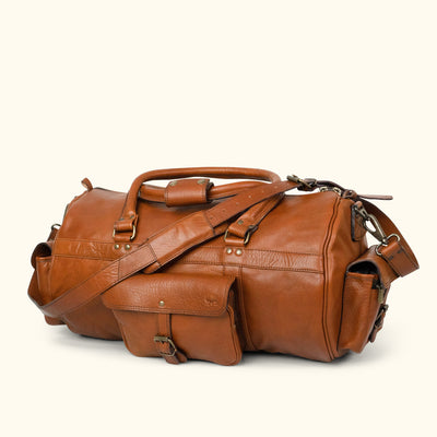 Men's Vintage Leather Duffle Bag | Amber turned