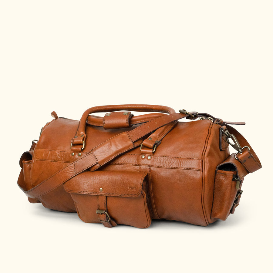 Rugged Leather Duffle Bag | Amber front