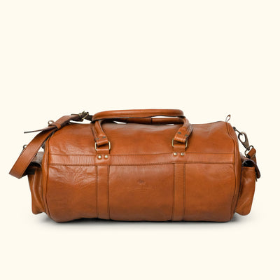 Men's Rugged Buffalo Leather Duffle Bag | Amber back