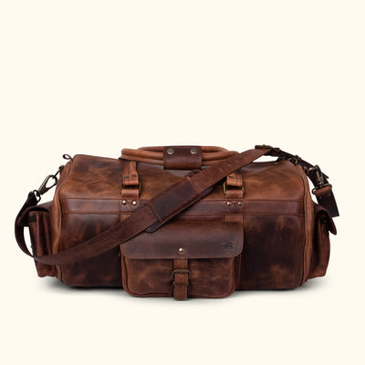 Men's Vintage Buffalo Leather Duffle Bag | Dark Oak front