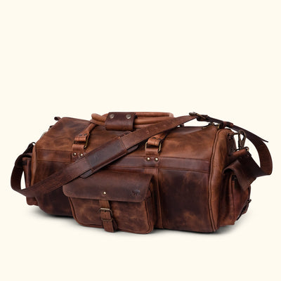 Men's Rugged Buffalo Leather Duffle Bag | Dark Oak turned