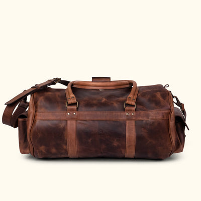 Vintage Leather Duffle Bag | Dark Oak back