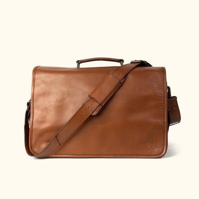 Men's vintage Buffalo Leather Messenger Bag | Amber front