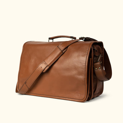 men's vintage Leather Messenger Bag | Amber turned