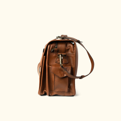 Rugged full grain Leather Messenger Bag | Amber side