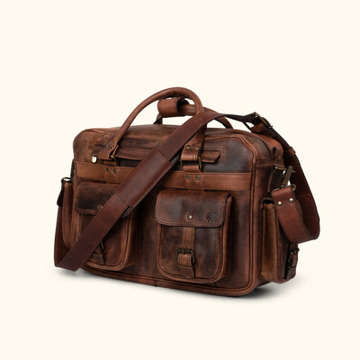 Men's classic Leather Pilot Bag | Dark Oak turned