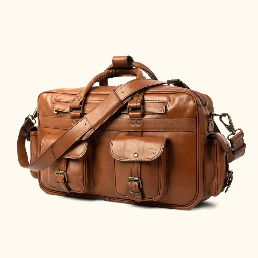 Vintage Leather Pilot Bag - Large | Amber front