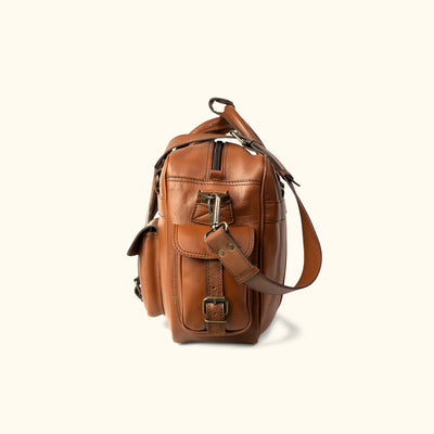 Men's rugged Leather Pilot Bag - Large | Amber side