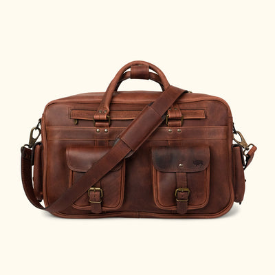Rugged Leather Pilot Bag - Large | Dark Oak front